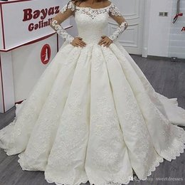 Wholesale Cheap Long White Church Dresses - Elegant Long Sleeve Illusion Applique 2018 Wedding Dresses Sheer Lace Church Train Cheap Plus Size Bridal Ball Gowns robe de mariage