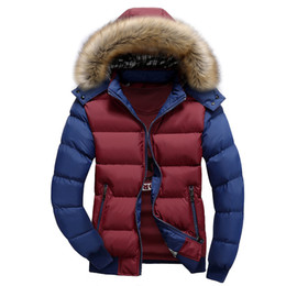 Wholesale Silver Winter Coats For Men - Wholesale- Brand clothing 2016 fashion Thick Warm Winter Jacket 4XL for Men Waterproof Removable Fur Collar Parkas Hooded Coat 4XL RT63E