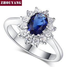 Wholesale Princess Kate Sapphire Ring - Top Quality Princess Kate Blue Gem Created Sapphire White Gold Plated Wedding Finger Crystal Ring Brand Jewelry for Women ZYR076