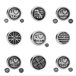 Wholesale Alloy Charms Spacer - comejewelry I Love London,Paris,New York,Italy,HOLLAN Spacer Charms Stainless Steel Beads Fit Pandora Style Bracelet DIY Jewelry Accessories