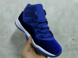 Wholesale Cheap Patent - 2017 New Cheap Womens mens air Retro 11 red blue Black Velvet Heiress Basketball Shoes Sneakers for mens Outdoor Sports Shoes
