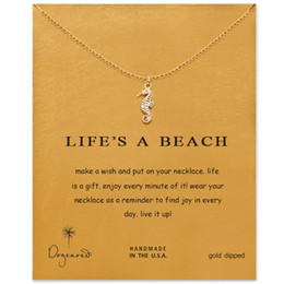Wholesale Wholesale Beach Necklaces - Dogeared Necklaces With Card Gold Silver Color (life is a beach) Hippocampus pendant choker necklace
