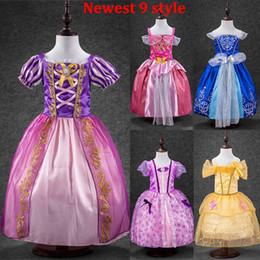 Wholesale Wholesale Beauty Pageant Dresses - 2017 Girls Elsa Sofia Sleeping Beauty Snow White Cinderella Princess Dresses Kids Party Costume Children Luxury Pageant Gowns 9 Style WX-D18