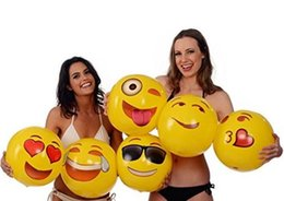 Wholesale Wholesale Pit Balls - Newest 12inches Emoji PVC Inflatable Beach Balls Inflatable Ball Pool Outdoor Play Beach Toys Sand Play Water Fun Ball Toy DHL Free