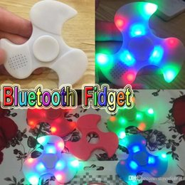 Wholesale Blister Hands - LED Fidget Spinner Bluetooth Speaker Handspinner LED Rainbow Light Luminous Hand Spinners Fidget Finger Toys with blister package