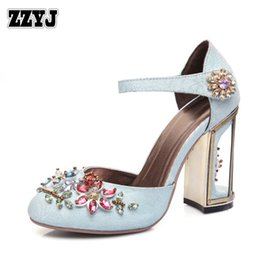 Wholesale Metal Pieces Shoes - ZZYJ Top women's high heels national diamond beaded two-piece high-heeled sandals metal hollow heel office ladys summer shoes C8327