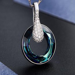 Wholesale Silver Blue Crystal Necklace - Top Quality Crystal Pendant Necklaces Sterling Silver Necklace For Women Elegant Blue Pendant Necklaces Wedding Bridal Jewelry Accessories