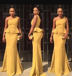 Wholesale Mermaid Style Prom Wedding Dress - African Saudi One Shoulder Mermaid Long Bridesmaid Dresses 2017 Aso Ebi Style Ruffle Floor Length Prom Occasion Gowns Wedding Guest Dress