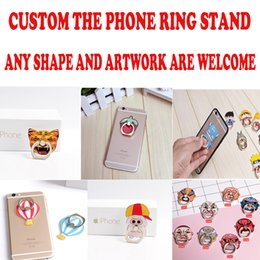 Wholesale Mobile Personalized - 100pcs lot Personalized logo phone stand Custom Finger Ring Holders for iphone universal cartoon mobile phone bracket Christmas gifts