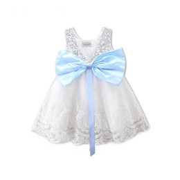 Wholesale Girls Party Bubble Skirt Dresses - Girls Party Dress New Lace Sequins Baby Blue Butterfly Knot Sequined Dresses Kids Bow Clothing Straps Princess Wedding Bubble Skirt