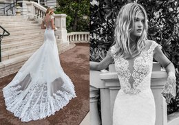 Wholesale Short White Dreses - Fancy Sheath Lace Wedding Dreses 2017 Beaded Appliques Wedding Gowns With Sleeves Sheer Jewel Neck Covered Button Back Country Bridal Dress
