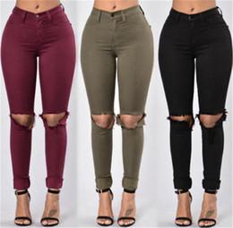 jeans vermelhos para mulheres Desconto Atacado-Red Army Green Mulheres Negras Lápis Stretch Jeans Calças Mulher Rasgado Denim Skinny Jeans Calças de Cintura Alta Jeans Calças para as mulheres