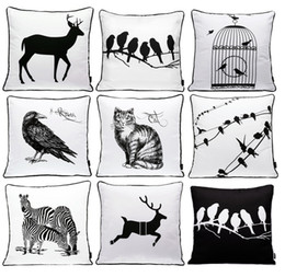 Wholesale Cat Animal Cases - Animals Bird Deer Stag Zebra Cat Cushion Covers Modern Black And White Birds Cage Sketch Cushion Cover Decorative Sofa Throw Pillow Case