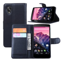 Wholesale Nexus Stand - Nexus 5 Leather Cases Wallet Stand Case For LG Google Nexus 5 D820 D821 Flip Phone Bag Cover Case Card Slots Holder