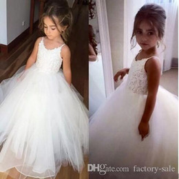 Wholesale Toddlers Ball Dresses For Cheap - Cheap Flower Girls Dresses Tulle Lace Top Spaghetti Formal Kids Wear For Party 2017 Free Shipping Toddler Gowns