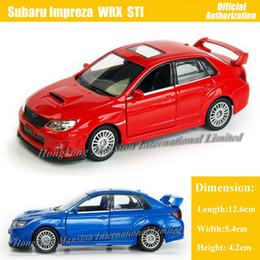 Juguetes de coches azules online-1:36 escala Diecast aleación modelo de coche de metal para SUBARU Impreza WRX STI colección modelo Pull Back juguetes coche - rojo / azul / blanco