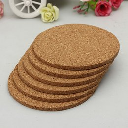 Wholesale Drink Coasters Mats - Wholesale-6pcs lot Round shape Plain Cork Coasters Drink Wine Mats Cork Mats Drink Wine Mat 10cm*0.5cm ideas for wedding and party gift
