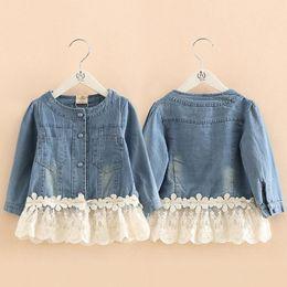 Wholesale Infant Lace Jacket - Kids Girls Lace Jackets Baby Girl Denim Blue Coat 2017 Infant Girls Outwear Coats Princess Outfits 2017 Autumn Children Clothing S050