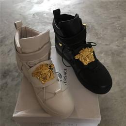 Wholesale Famous Heels - Mens New Famous Designer Medusa Casual Shoes Genuine Leather Camouflage Colors Fashion Brand Men Flats Shoes Original Box Size 39-46