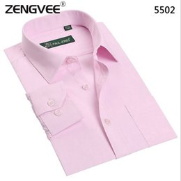 Wholesale Fitness Professional Shirts - Wholesale- Fashion Men Long Dress Shirt Professional Business Solid Turn Down Collar Easy Care Fitness Shirts Plus 6XL