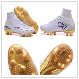 Wholesale Boys Youth Jacket - 2017 CR7 football shoes Mercurial CR7 Superfly V FG Gold boys soccer shoes young youth soccer jacket new Cristiano Ronaldo shoes size 39-46