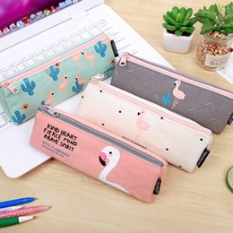 Wholesale Wholesale Pencil Boxes - Wholesale- Cute bird pencil case Flamingo stationery bag stationery box
