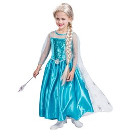 Wholesale Children S Clothing For Girls - Snow Elsa Princess Queen Dress Cosplay Costume Clothing with Cape for Girls Children Party Carnival Holidays