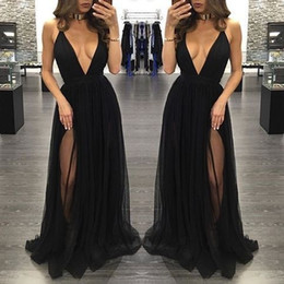 Wholesale Sexy Coral Party Dresses - New Fashion Black Sexy Prom Dresses 2017 Chiffon Deep V-Neck Backless Side Split Party Dresses Evening Wear Halter Criss Cross Cheap Custom