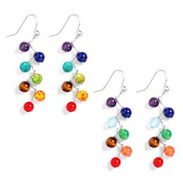 Wholesale Earrings Colorful Stones - 6mm Agate Amethyst Stone Beads colorful Chakra Drop Earrings Yoga Reiki Healing Stone earrings for women girls 2pcs=1 pair