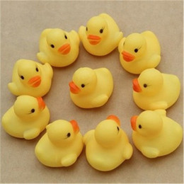 Wholesale Mini Rubber Bath Toys - 200pcs High Quality Baby Bath Water Duck Toy Sounds Mini Yellow Rubber Ducks Bath Small Duck Toy Children Swiming Beach Gifts