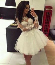 Wholesale Sweet Miss - Custom Ball Gown Homecoming Dresses Long Sleeves Sheer Neck Sweet 16 Dresses Pageant Prom Dresses Mini Short Graduation Dress
