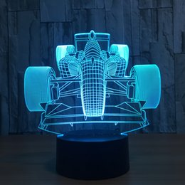 Wholesale Emergency Lamps Car - 3D Racing Car LED Illusion Lamp Night Light 7 RGB Lights DC 5V USB Powered AA Battery Bin Dropshipping Gift Box