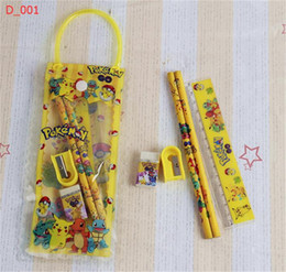 Wholesale Boys Party Bags - Poke pikachu stationery set clear pencil bag for kids cartoon pencil sharpener+eraser+ruler 7pcs kit boys girls gifts for party new year