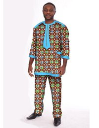 Wholesale Wax Clothes - Wholesale- Customized Men Top & Trousers Set Africa Style Wax Three Quarter Sleeve T shirt + Pants Traditional Africa Clothing WYN101