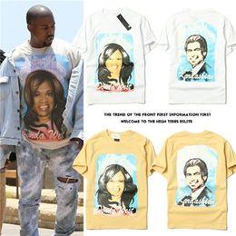 Wholesale Kim Korean - Kim Kardashian Black Head Portrait Korean Tide Brand Student White Short Sleeve T Pity Clothes Male Jacket Round Neck Pure Cotton Show Solic