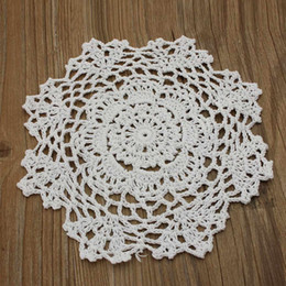 "Wholesale Vintage Crochet Table Mats - Wholesale- 8"" Round Handmade Crochet Lace Floral Doilies Vintage Knit Cup Coasters Tableware Placemat Pad Wedding Table Decor Cloth Mat"