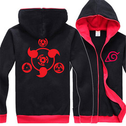 Wholesale uchiha hoodie - Wholesale-Naruto Hoodie New Anime Uchiha Sasuke Cosplay Coat Uzumaki Anime Naruto Jacket Winter Men Zipper hoody ninjia Sweatshirts