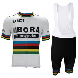 Wholesale Cycling Bib Short Pants - 2017 uci world champion peter sagan pro team bora cycling jersey short sleeve Bicycle ropa ciclismo men summer bike cloth bib pants gel pad