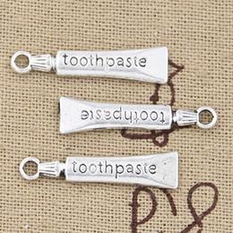 Wholesale Silver Tooth Bracelet - Wholesale-99Cents 8pcs Charms tooth toothpaste 28*6mm Antique Making pendant fit,Vintage Tibetan Silver,DIY bracelet necklace