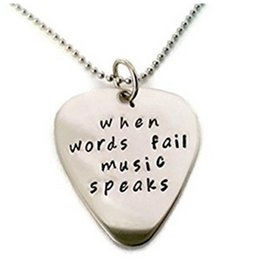 "Wholesale Silver Guitar Picks - 2015 new Hand Stamped Jewelry""When words fail music speaks""Silver Letter necklace Guitar Pick Necklace Music Speaks"