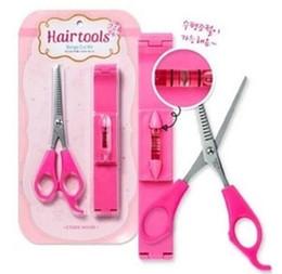 Frangia fai da te frangia clip orizzontale equilibrio righello + forbici taglio di capelli taglio di capelli taglio professionale set di strumenti trimmer per parrucchieri da