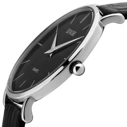 Wholesale Super Slim Watches - Luxury watch Super slim Quartzl Wristwatch watches Top Brand Watch for men Genuine Leather Analog Quartz Watch Men's relojes hombre