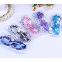 Wholesale Silicone Swimming Goggles - Children Kids Boys Girls Antifog Waterproof High Definition Swimming Goggles Diving Glasses With Earplugs Swim Eyewear Silicone DHL Fedex