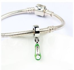 green pearl big chain Coupons - Fit Pandora Charm Bracelet European Silver Charms Green Pearl Shoes Dangle Big Hole Beads DIY Snake Chain For Women Bangle Necklace Jewelry