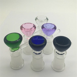 Wholesale Funnel Bowl - 14mm female Glass Bowl for Bong Water Pipes Dab Rig 5mm thick funnel colored bowls for bongs ash catcher water pipe accessories Oil Rigs
