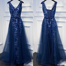 Wholesale Sexy Dressess - 2017 Gorgeous Royal Blue Prom Dressess V Neck White Lining Lace Tulle Sleeveless Lace up Back Evening Gowns with Sash
