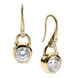 Wholesale Hook Diamond Earrings - Hook Earrings Gold Fashion Brand Crystal Dangle Earrings DHL Studs Diamond Zircon Earrings Wedding Jewelry for Women Rose Gold Gold Silver