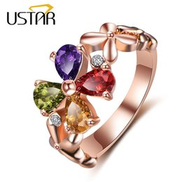 Wholesale wedding jewelry champagne color - USTAR Crystals Flower Rings for women with Green Champagne Red Cubic Zirconia Rose gold color wedding rings female anel Jewelry