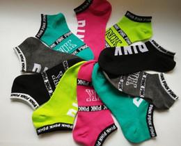 Wholesale Socks Cut Women - 2017 VS Love Pink Logo Low cut slipper sock ped Stripe Crew Socks Victorias women Footsocks sneakers pink VS short socks Ankle sneaker sale