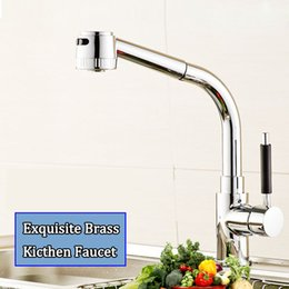 Wholesale Long Basin Tap - Exquisite Brass Water Tap Singer Holder Long Waterfall Spray Shower Tap Low lead Thicken Mixer Faucet for Kitchen Home Hotel Basin Sink